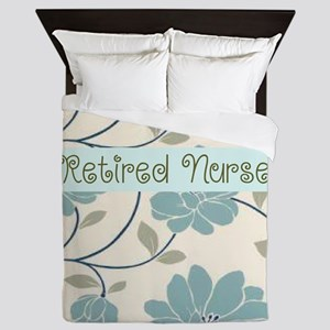 retired nurse blue flower pillow Queen Duvet